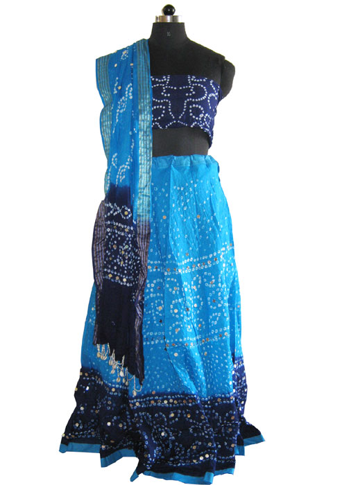 Traditional Blue Bandhej Chaniya Choli