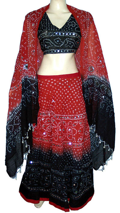 Red and Black Indian Chaniya Choli Navratri