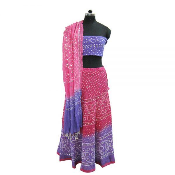 Stitched Bandhej Lehenga Choli