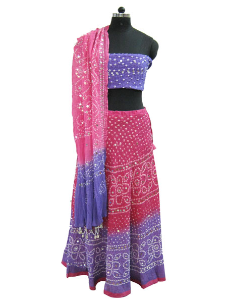 Pink and Blue Bandhej Lehenga Choli