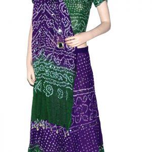 Green & Violet Bandhani Lehenga Choli