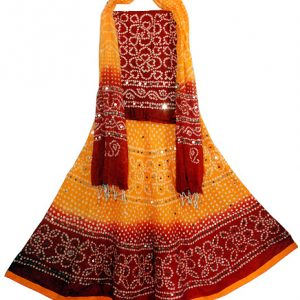 YELLOW RED GHAGRA CHOLI SET