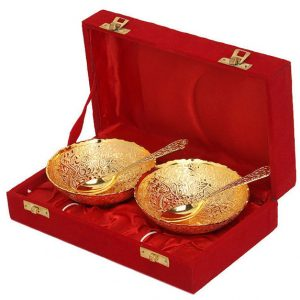 ENGRAVED BRASS BOWL SET