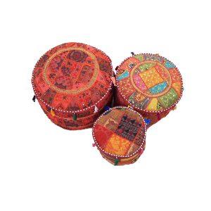 Vintage Embroidered Pouf Ottoman