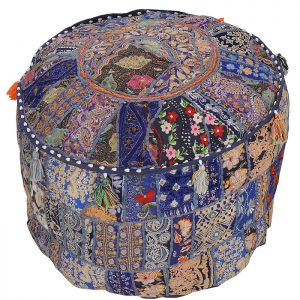 Traditional Embroidered Cotton Ottoman