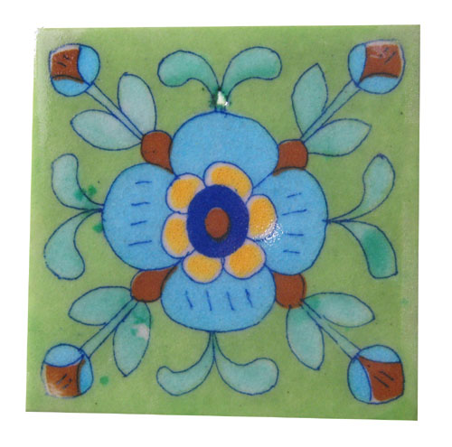 GREEN FLORAL JAIPURI TILES