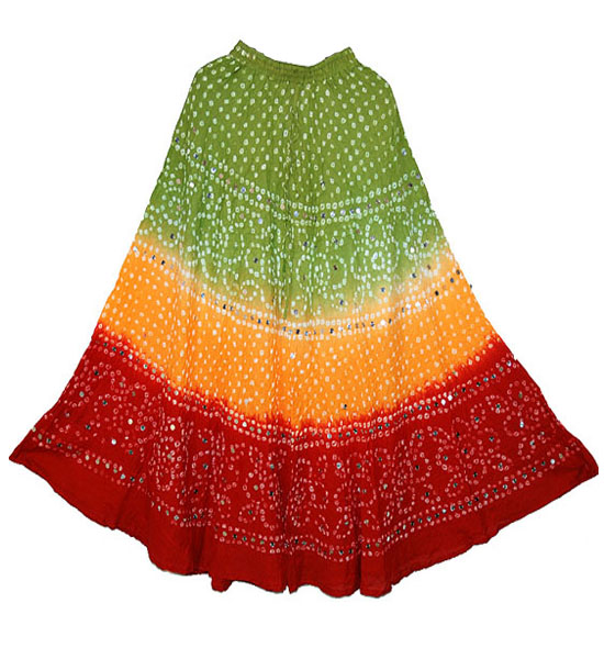 deec3e195 Buy Cotton Bandhini Bandhej long skirts - Jaipur Online Shop