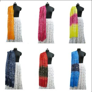 Mirror Work Cotton Bandhej Stole