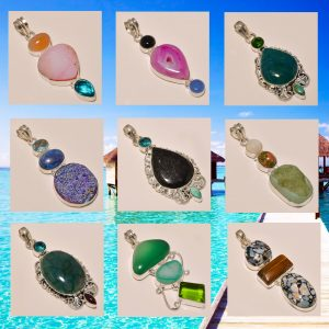 COLORED GEMSTONES PENDANTS