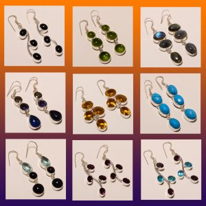 GEMSTONE EARRINGS LOT