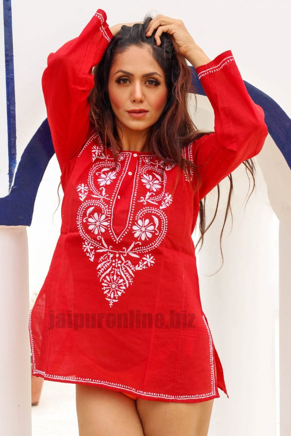 Red Embroidered Cotton Short Tunic