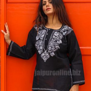 Black Embroidered Cotton Short Tunic