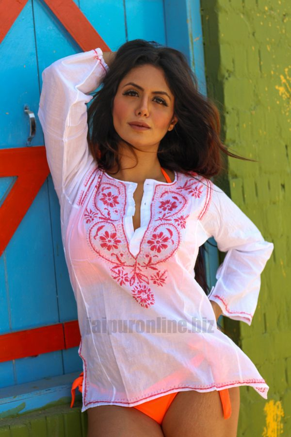 Fancy Embroidered Cotton Short Tunic