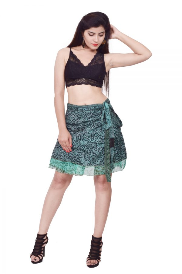 knee length silk wrap skirt