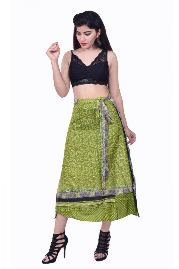 37 inches long silk wrap skirt